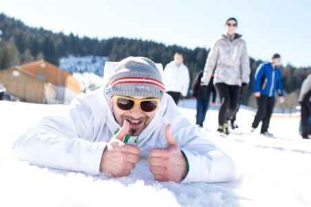 Biathlon Rennen bei der Skoda Challenge im Kongresszentrum in Ramsau